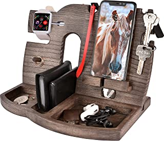 BarvA Wood Docking Station Tray Cell Phone Smartwatch Holder Men Charging Accessory Nightstand Father Mobile Base Gadget O...