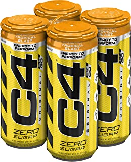 C4 Original Sugar Free Energy Drink 16oz (Pack of 4) | Tropical Blast | Pre Workout Performance Drink with No Artificial C...