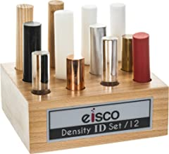 Mixed Materials for Density Exploration, Set of 12 Cylinders with Wooden Holder, Varied Lengths - Oak wood, Pine wood, PVC, Derlin, Nylon, Teflon, Rubber, Aluminum, Glass, Lucite, Brass, and Copper