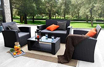 Baner Garden 4 Pieces Outdoor Furniture Complete Patio Cushion Wicker P.E Rattan Garden Set, Full, Black