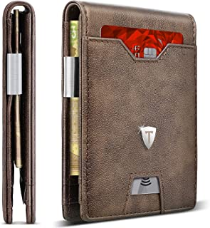 Leather Slim Wallet for Men Money Clip RFID Blocking Bifold Minimalist Wallet 10 Credit Card Holders 1 ID Window Front Pocket Wallet with Gift Box for Father Husband Brother-New