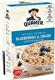 Quaker Instant Oatmeal, Blueberries & Cream, Individual Packets, 10 Count
