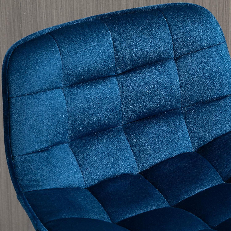 Rivestimento Velluto e Poggiapiedi 45x47x88cm Blu homcom Set 2 Sgabelli da Bar Sedie Imbottite per Salotto Stile Nordico