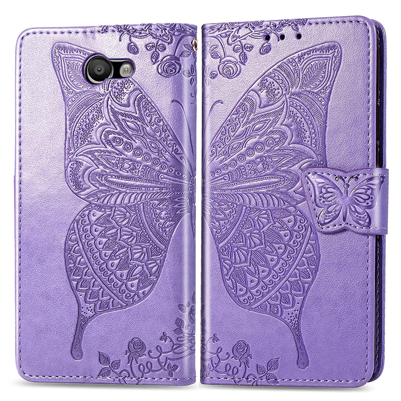 Galaxy J7 2017,J7 Prime,J7 V Wallet Case, [Butterfly & Flower Embossed] Premium PU Leather Wallet Flip Protective Phone Case Cover with Card Slots and Stand for Samsung Galaxy J7 2017 (Lavender)