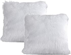 Anvi Home Mongolian Faux Fur Pillow Cover Set of 2 / Super Soft Faux Fur Pillow/Perfect Decoration for Any Beds and Sofas - 20X20 Inch - Cream