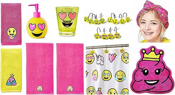 Justice For Girls Emoji Complete 10pc Bathroom Decor Acessory Kit