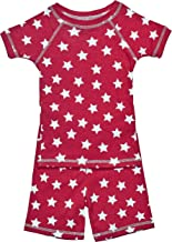 product image for Brian the Pekingese Girls 100% Organic Cotton Short Sleeve and Shorts Pajamas (4T, Red Star)