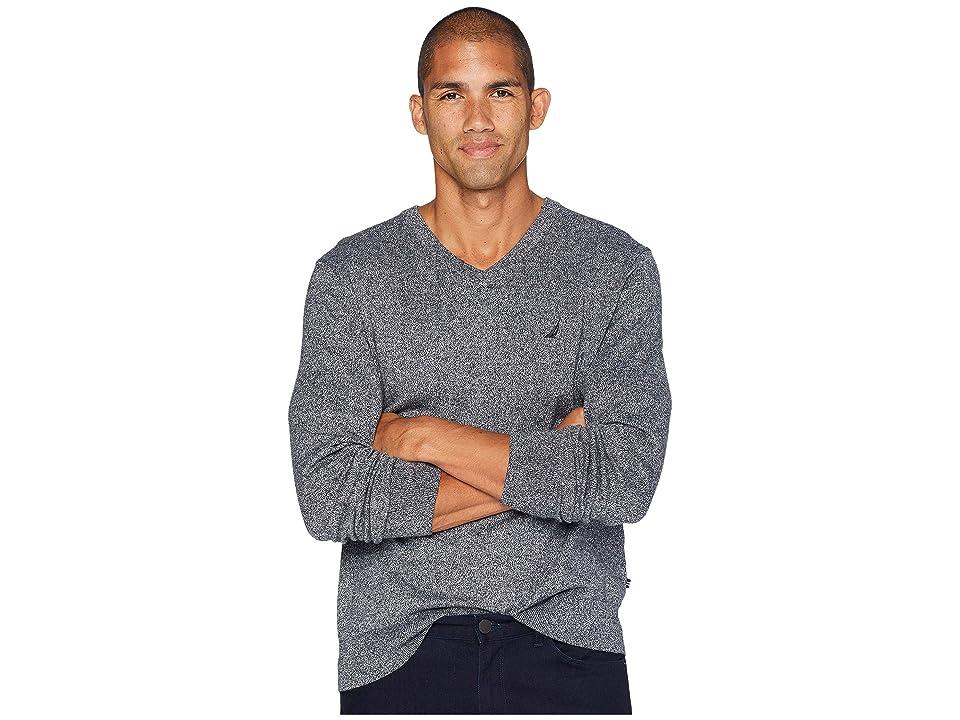 Nautica 12 Gauge Jersey V-Neck Sweater (Estate Blue) Men