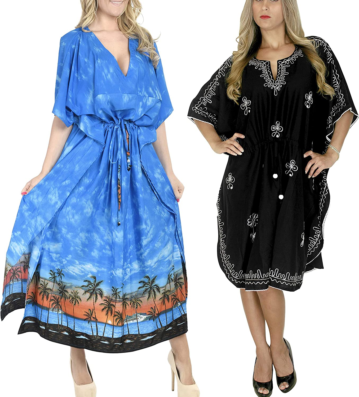 LA LEELA Women's Plus Size Kaftan Dress Loungewear Cover Ups US 14-22W Work from Home Clothes Women Midi Kaftan Casual Long Dress Maxi Cover up Pack of 2