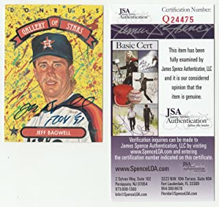 1992 Donruss Jeff Bagwell Signed Gallery Of Stars Card Inscribed Roy 91 Cert - JSA Certified - Baseball Slabbed Autographed Cards