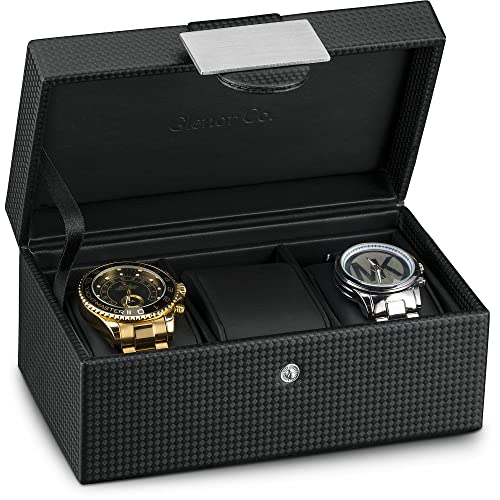 Glenor Co Travel Watch Case - 3 Slot Luxury Organizer Box, Carbon Fiber Design for