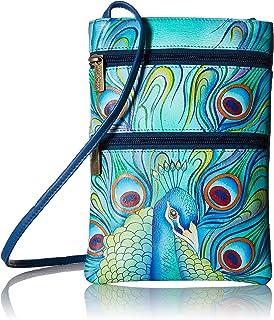 Women's Genuine Leather Hand Painted Double Zip Travel Crossbody Bag