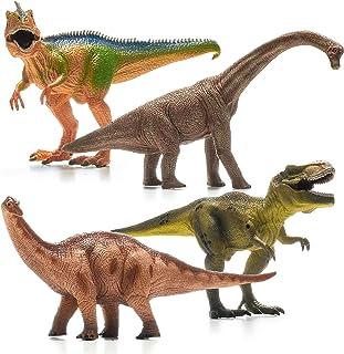 "Prextex 13"" Realistic Looking Dinosaurs Pack of 4 Jumbo Plastic Assorted Dinosaur Figures"
