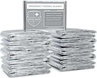 Swiss Safe Emergency Mylar Thermal Blankets (Bulk) - Designed for NASA, Outdoors, Hiking, Survival, Marathons or First Aid