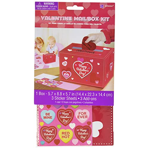 b3d575d26 Amscan Adorable Valentine's Day Party Decorate Mailbox, Multicolor, 5 3/4 x  8