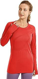 CRZ YOGA Women's Active Long Sleeve Sports Running Tee Top Seamless Leisure T-shirt