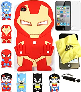 BUKIT Cell (TM) CuteIRONMANCartoon Soft Silicone Case for iPod Touch 4TH [Bundle - 4 Items: Case, Bukit Cell Cleaning Cloth, Screen Protector and Metallic Stylus Pen ]