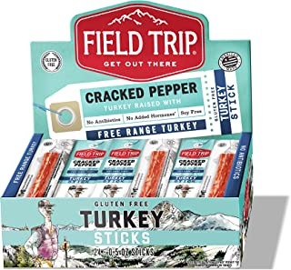 Field Trip Turkey Jerky Sticks   Keto Gluten Free Jerky, Low Carb, Healthy High Protein Snacks With No Nitrates, Made With All Natural Ingredients   Cracked Pepper   0.5oz, 24 Pack