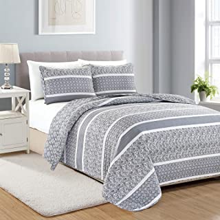 Reversible Paisley Striped Bedspread. Twin Size Quilt with 1 Sham. 2-Piece Reversible All Season Quilt Set. Grey Quilt Coverlet Bed Set. Kadi Collection.