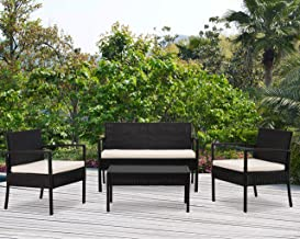 DG Casa San Juan 4 Piece Outdoor Sofa Patio Deck Furniture Set with Loveseat Chair Table and Seat Cushions, Beige in Black Synthetic Rattan and Steel Frame, Black & Beige