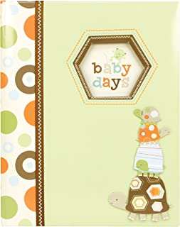 C.R. Gibson Green and Brown Turtle 'Baby Days' Baby Memory Book for Newborns, 60 pgs, 9'' W x 11.125'' H