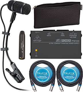 Audio-Technica PRO 35 Clip-on Cardioid Microphone for Musical Instruments Bundle with MicroPower PS400 Phantom Power Suppl...