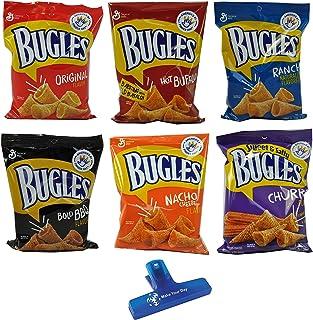 Bugles Crispy Corn Snacks Variety, Original, Hot Buffalo, Ranch, Bold BBQ, Nacho Cheese, and Sweet & Salty Churro, One 3oz...