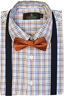 Boys' Dress Shirt with Matching Bowtie and Suspenders Set