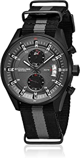 Stuhrling Men's Black Dial Nylon Band Watch - 845.04, Analog Display