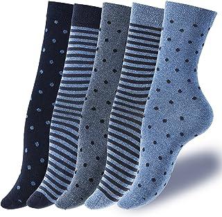 5 pares de calcetines de señora hermosa en colores azules y grises con puntos y rayas