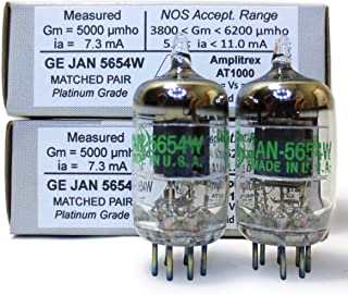 Riverstone Audio - Matched Pair (2 Tubes) 7-Pin GE JAN 5654W Fully-Tested Vacuum Tubes - Upgrade for 5654 / 6AK5 / 6J1 / 6...