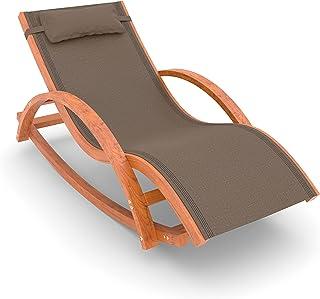 Ampel 24 Relax Rio krzeso bujane z podokietnikami, meble ogrodowe z poddanego obróbce drewna, obicie brzowe, odporne na wa...