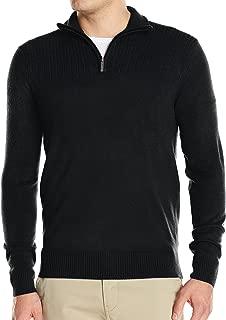 Geoffrey Beene Mens Argyle Quarter Zip Polo Sweater Black Gray Combo