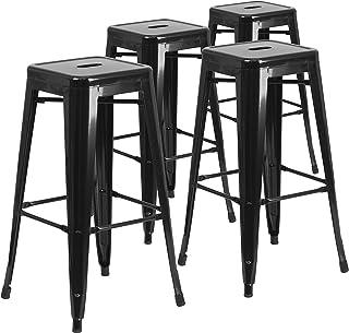 Flash Furniture 4 Pk. 30'' High Backless Black Metal...