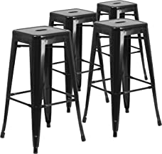 Flash Furniture 4 Pk. 30'' High Backless Black Metal Indoor-Outdoor Barstool with Square Seat -