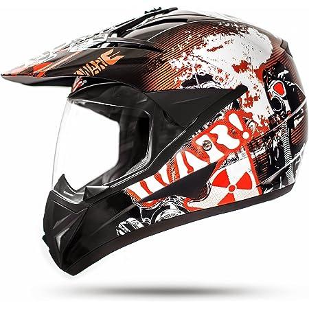 Ato Moto 801 Gs War Matt Schwarz Größe S 55 56cm Enduro Helm Mit Visier Moped Quad Atv Motocross Motorradhelm Ece 2205 Auto