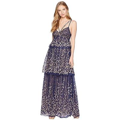 BCBGMAXAZRIA Tiered Evening Dress (Dark Navy Combo) Women