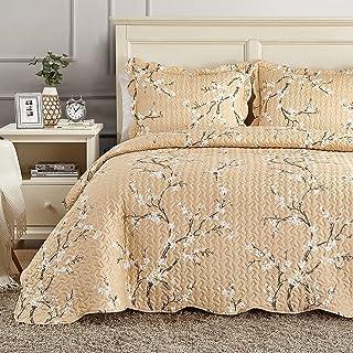 Hansleep Couvre-lit matelassé pour lit double 220 x 240 cm, 3 pièces en microfibre légère avec 2 taies d'oreiller 50 x 75 ...