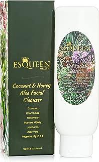 Esqueen Natural Face Wash and Foaming Facial Cleanser (6 oz.) Anti Aging Moisturizer and Hydrator | Dry, Oily, Combination Skin | Jojoba Oil, Aloe Vera, Vitamin C, Coconut, Manuka Honey