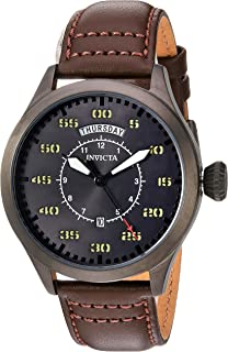 Men's Aviator Stainless Steel Quartz Watch with Leather Calfskin Strap, Brown, 22 (Model: 22975)