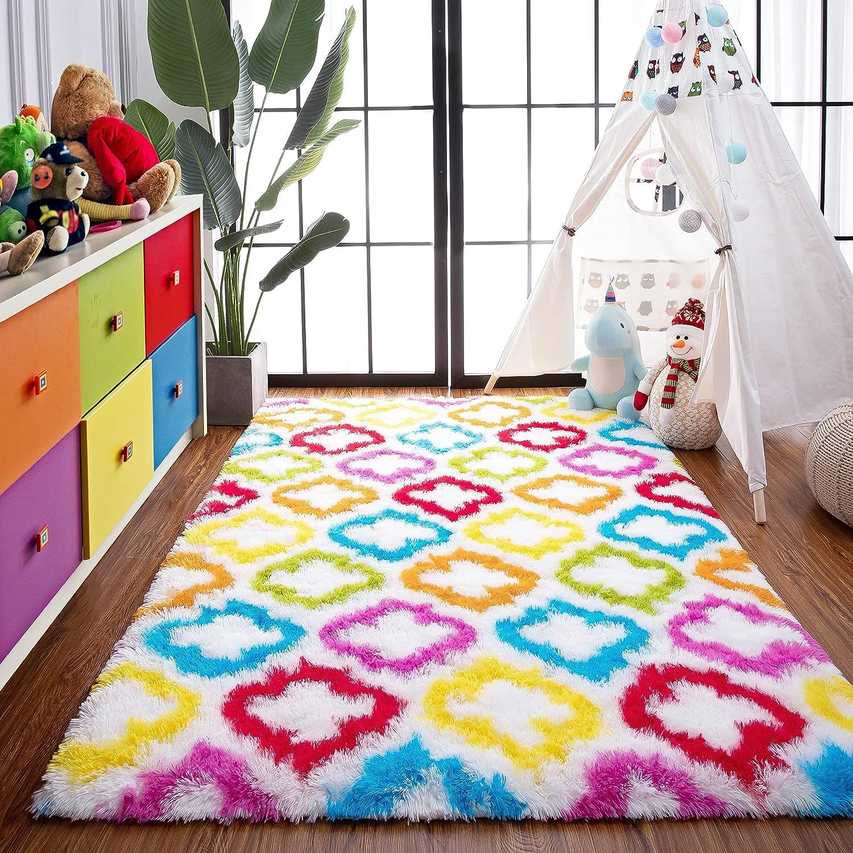 Foxmas Rainbow Geometric Popular product Rug for Kids Living Colorful Room Ranking TOP11