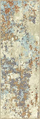 Maples Rugs Southwestern Stone Distressed Abstract Non Slip Runner Rug For Hallway Entry Way Floor Carpet [Made in USA], 2 x