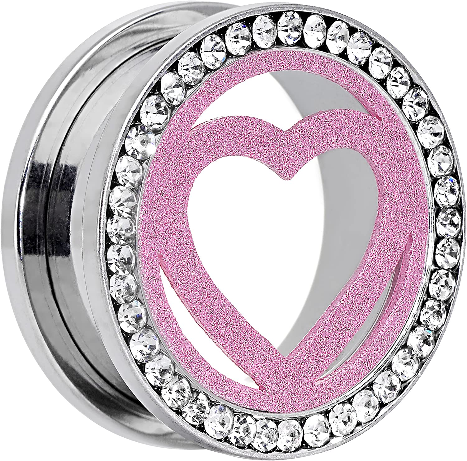 Body Candy Stainless Steel Clear Accent Pink Heart Tunnel Ear Gauge Plug (1 Piece) 7/8