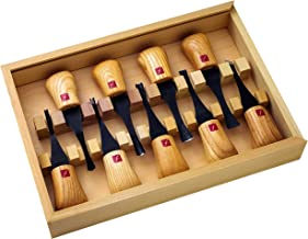 FLEXCUT Carving Tools, Deluxe Palm Gouges, Ash Hardwood Handles and Carbon Steel Blades, Set of 9 (FR405)