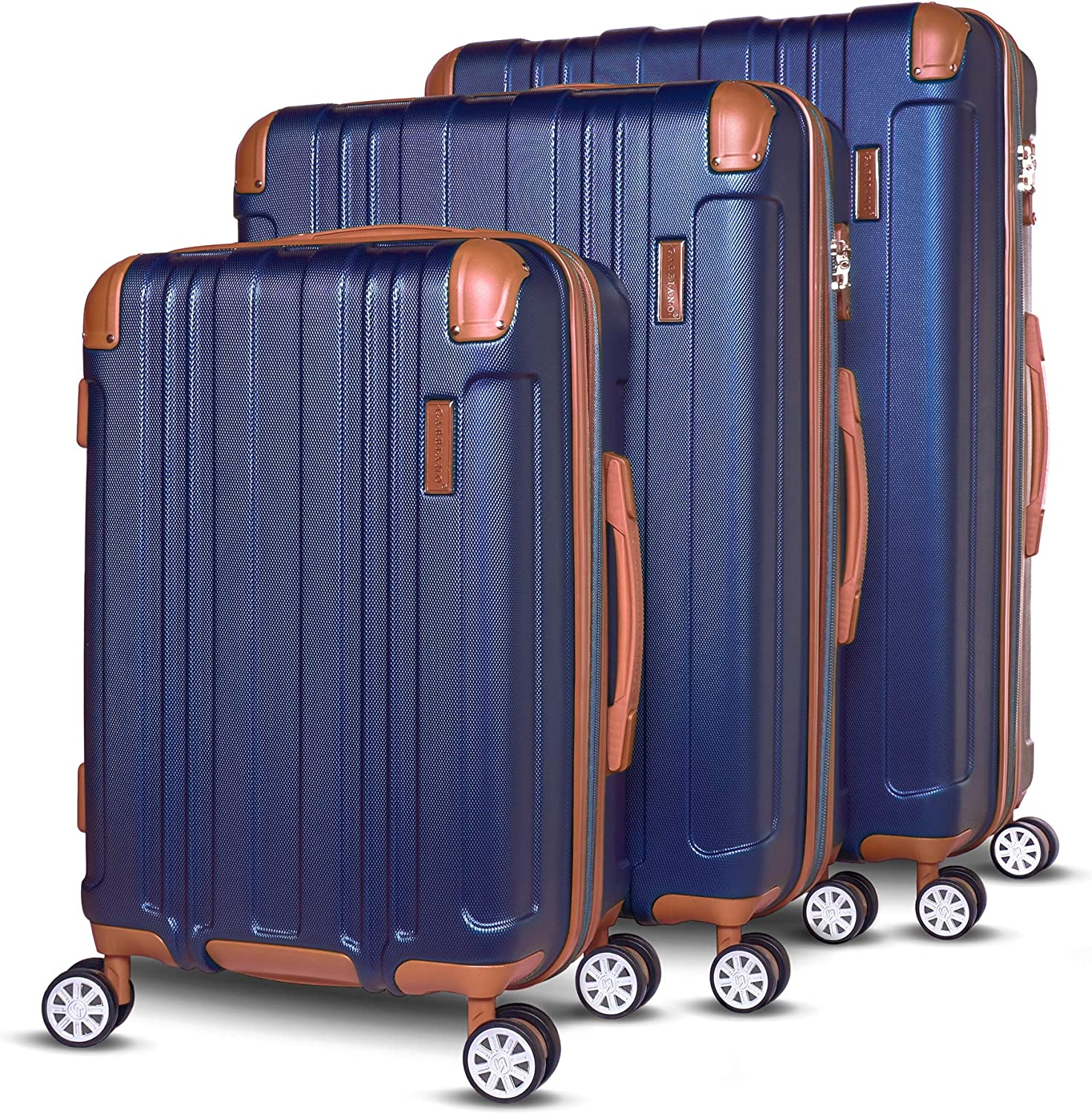Gabbiano Bravo Collection 3 Piece Hardside Spinner Luggage Set Blue
