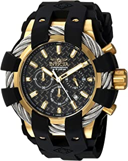 Men's Bolt Stainless Steel Quartz Watch with Silicone Strap, Black, 32 (Model: 23860)