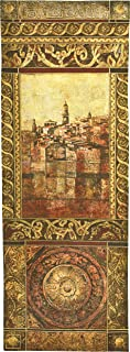 New Enchantment II by John Douglas - Woven Tapestry Wall Art Hanging - Rich Elaborate Mediterranean Seascape Villa - 100% Cotton USA Size 69x25