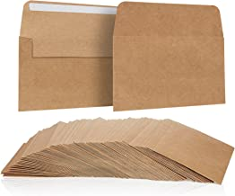 A4 Envelopes Bulk - 100-Count A4 Invitation Envelopes, Kraft Paper Envelopes for 4 x 6 Inch Wedding, Baby Shower, Party Invitations, Square Flap Photo Envelopes, Brown, 4.25 x 6.25 Inches