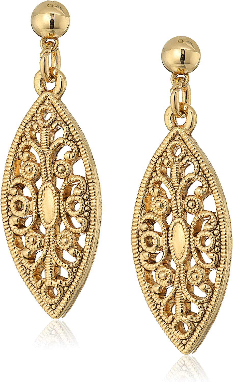 1928 Jewelry 14K Gold-Dipped Filigree Post Drop Earrings
