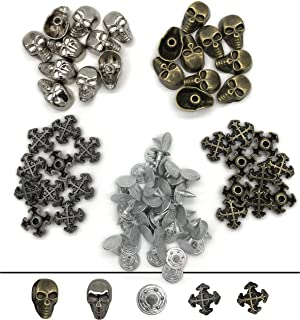 80Pcs Jeans Buttons, Skull Head and Cross Rapid Rivets Studs, Metal Tack Buttons Spike, Speedy Rivets for Fabric Leather Craft Crafting Decoration